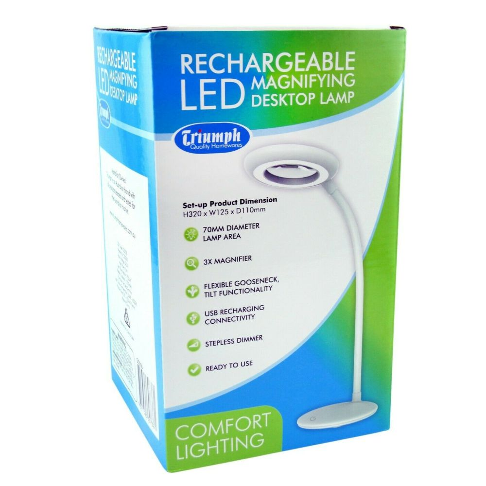 LED Rechargeable Magnifying Desk Lamp